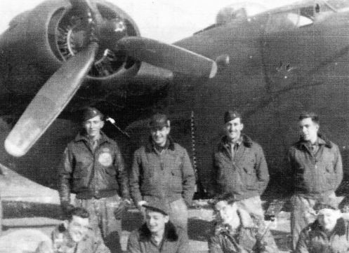 Lt. Loser's first crew, taken at their B-24 Liberator's hardstand. Top row, left to right: 2nd Lt. Jim (Harvey) L'Hommedieu, bombardier; 2nd Lt. Thomas Bonna, navigator; 2nd Lt. Paul Le Sieur, co-pilot; 2nd Lt. Henry Loser, pilot. Bottom row, left to right: Sgt. Benjamin Montgomery, waist gunner; S/Sgt. Clarence Block, waist gunner; Sgt. Andrew Babich, radio operator; S/Sgt. Leonard Schiller, engineer. Brindisi, Italy, December 1944.